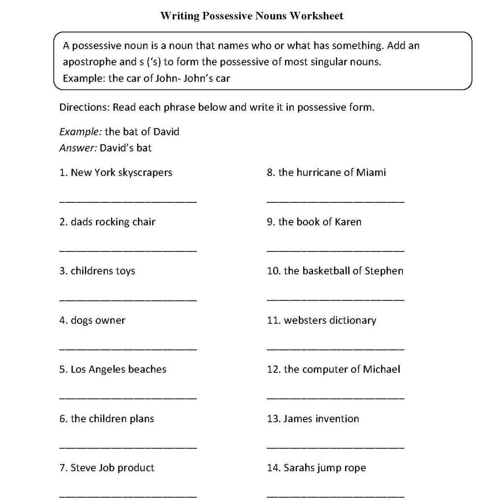 English Worksheets For Grade 6
