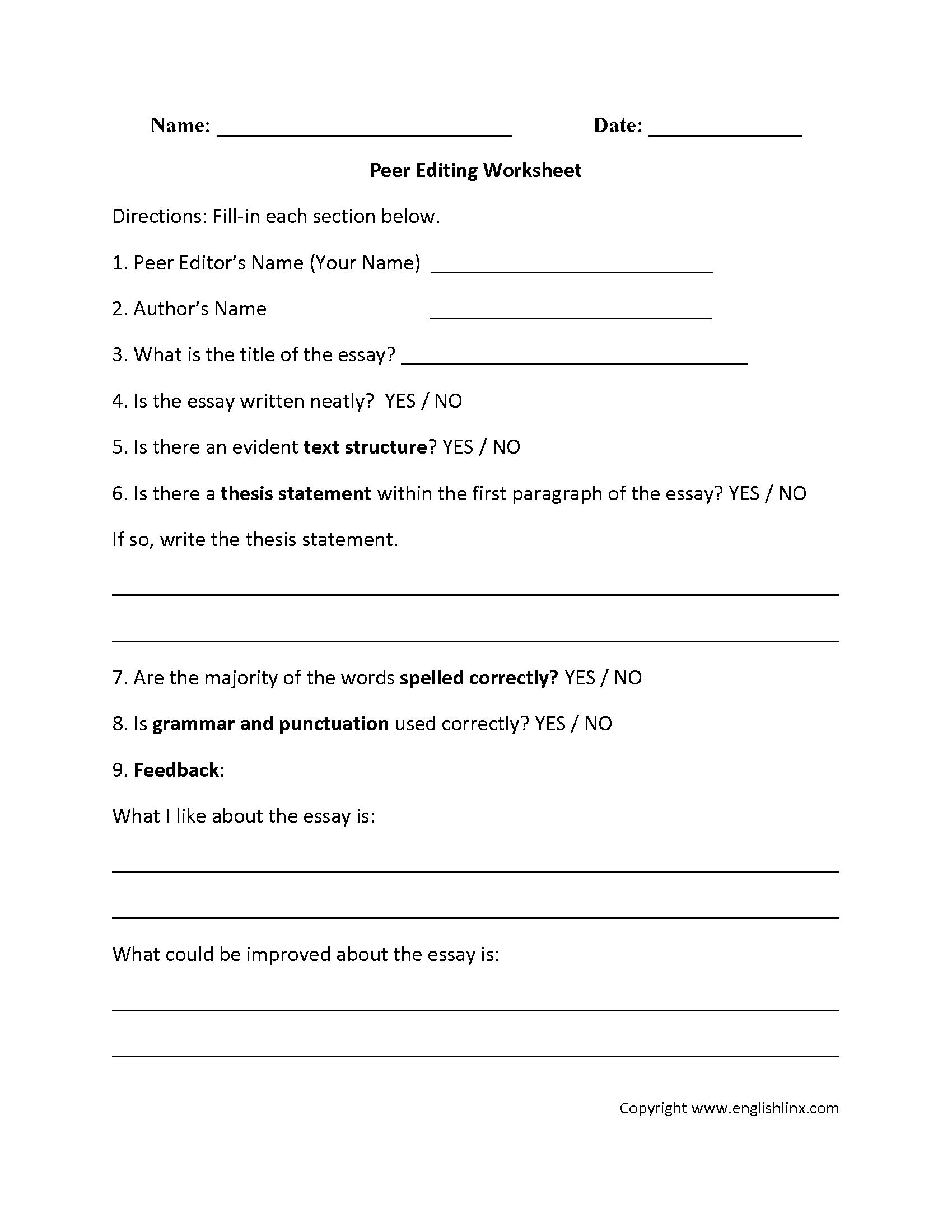 Printable Editing Worksheets