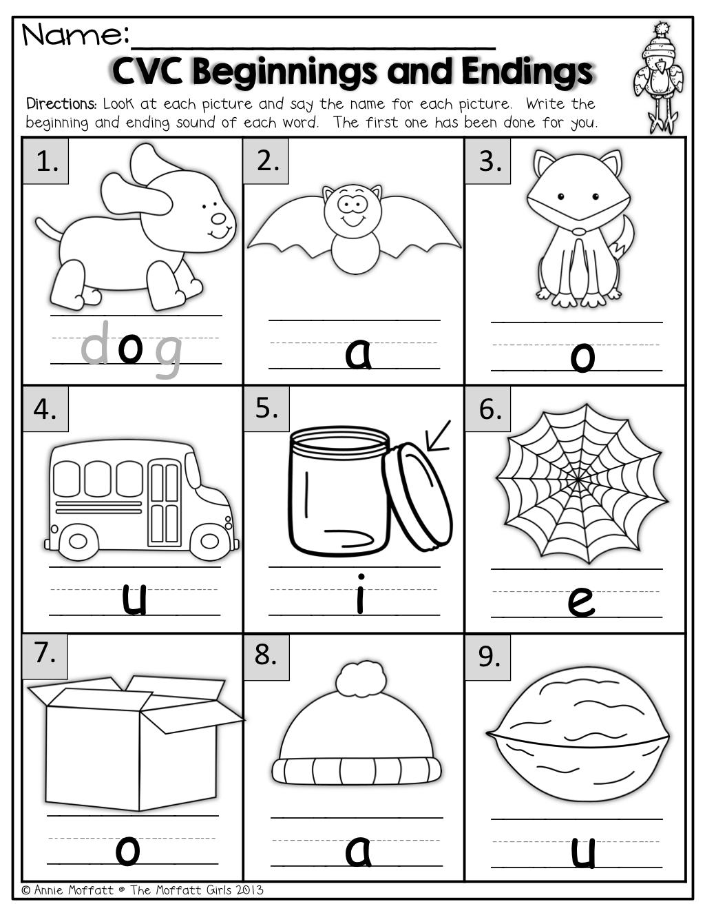 Beginning And Ending Sounds Worksheets For Kindergarten