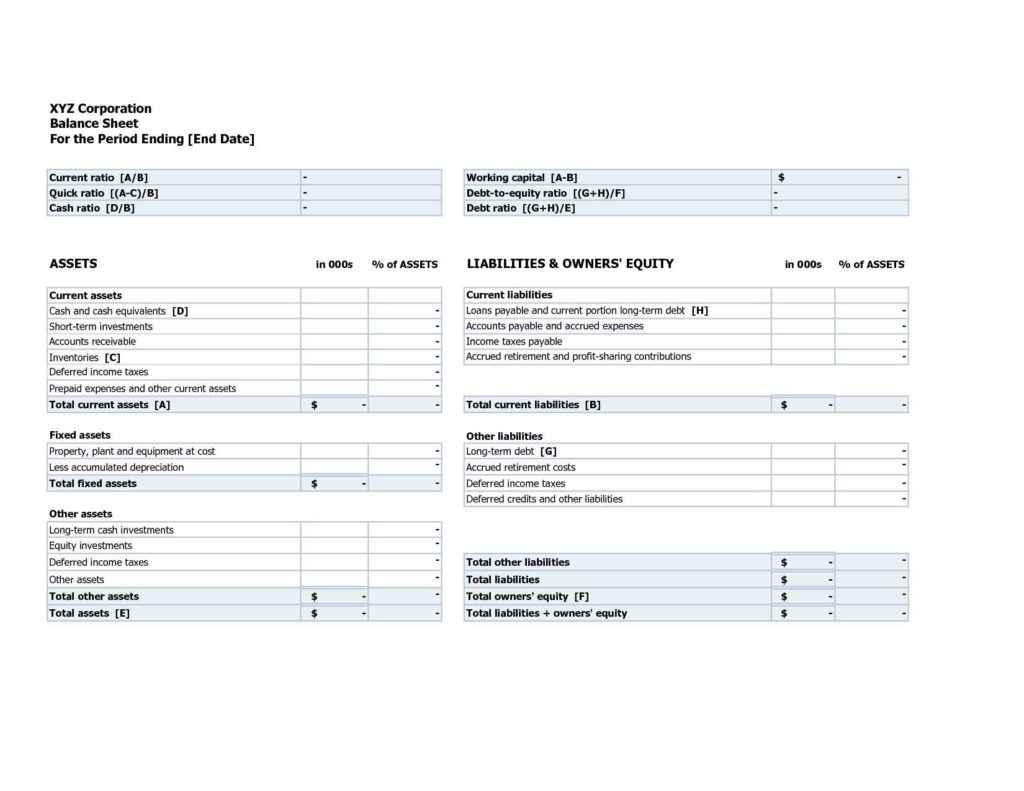 Asset And Liabilities Worksheets