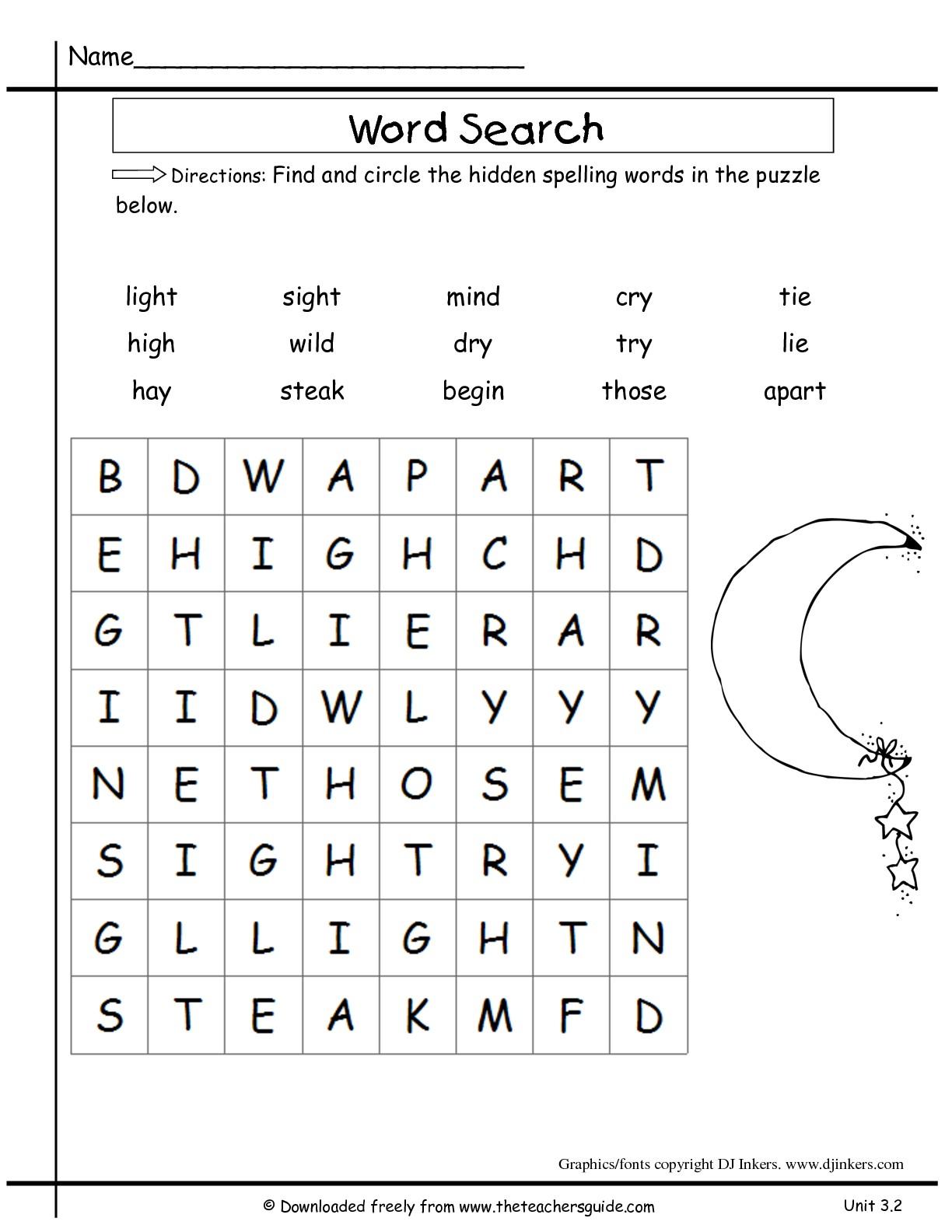 2nd Grade Spelling Words Worksheets