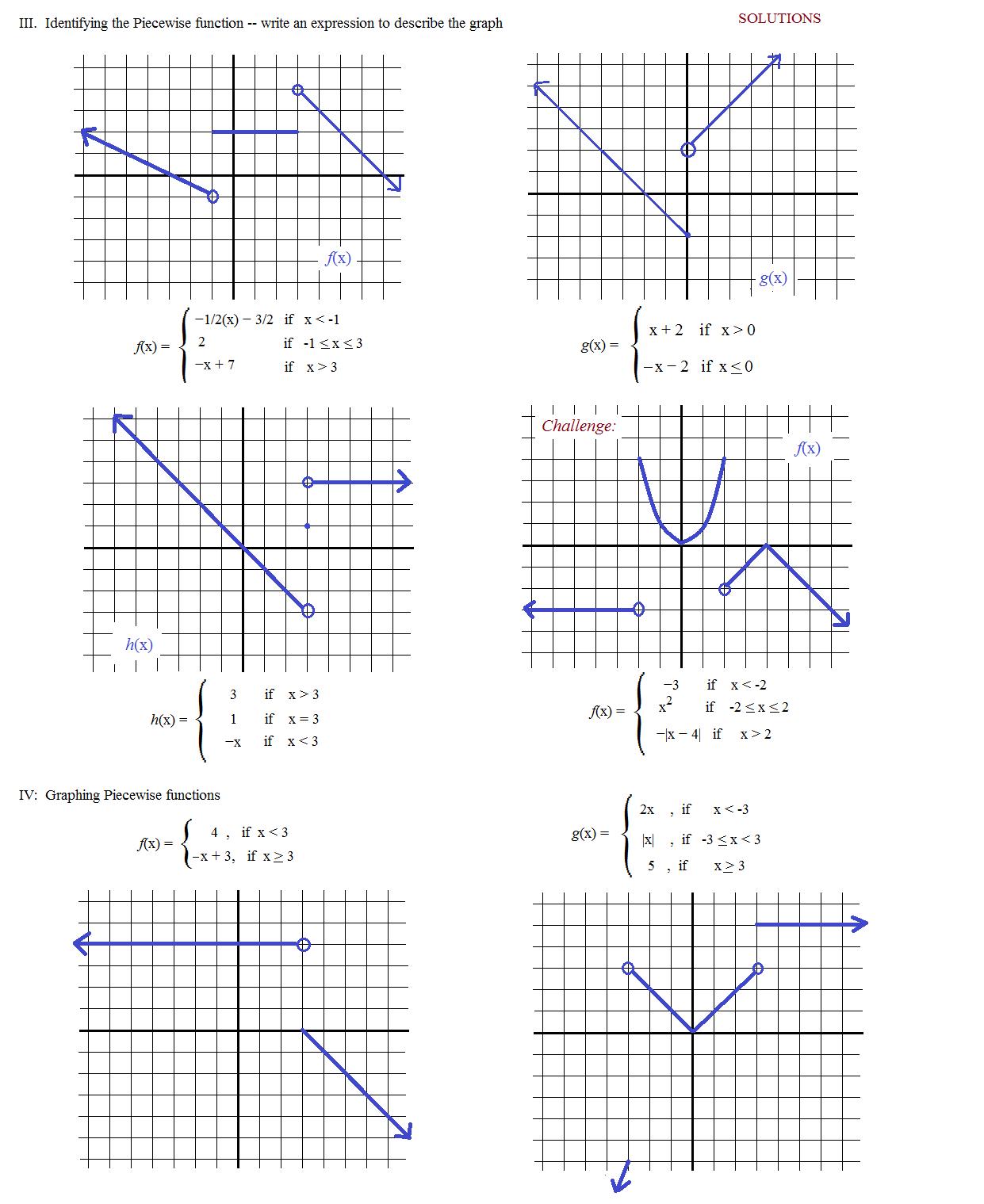Simple Piecewise Functions Worksheet
