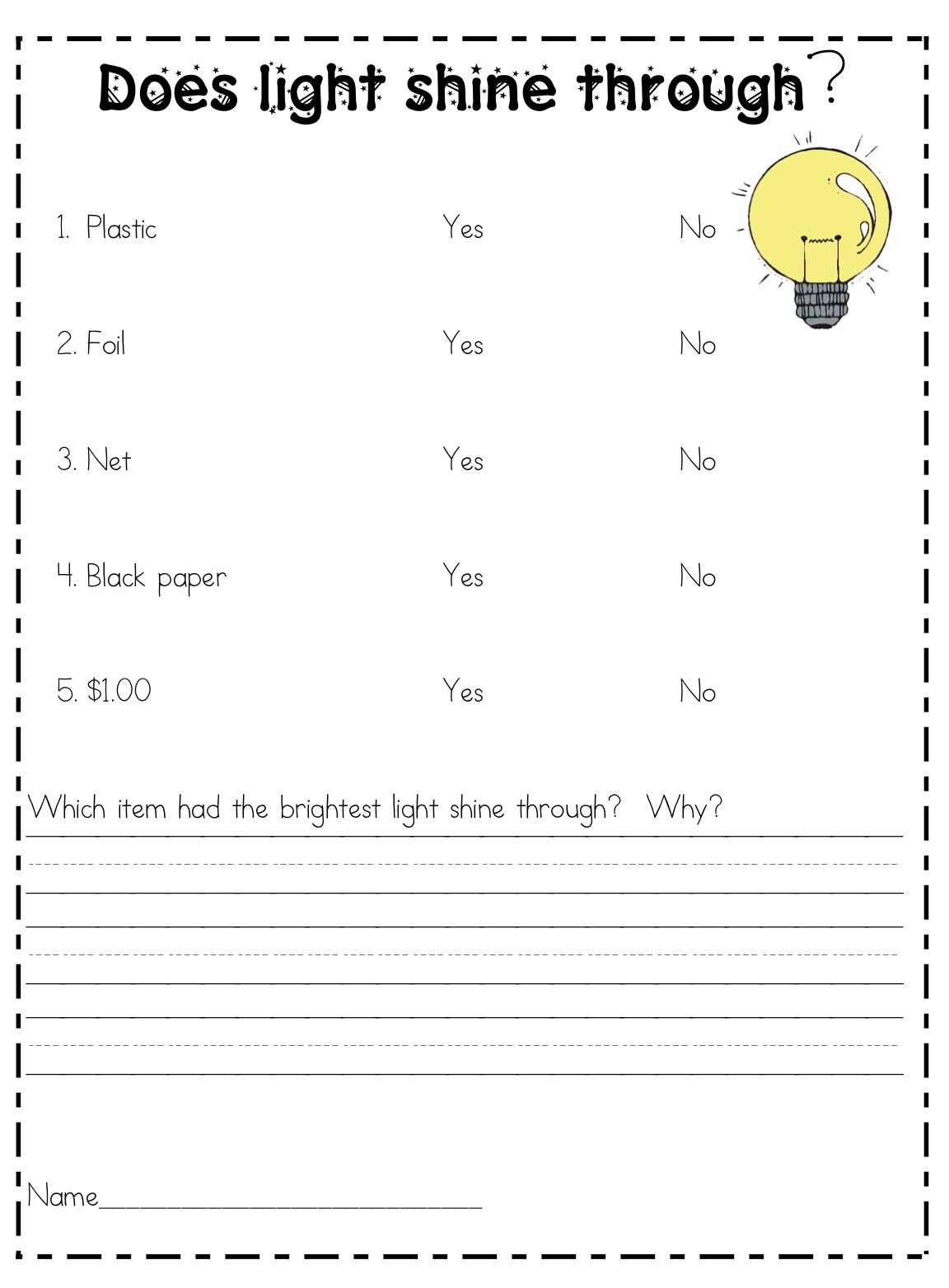 Properties Of Light Worksheets
