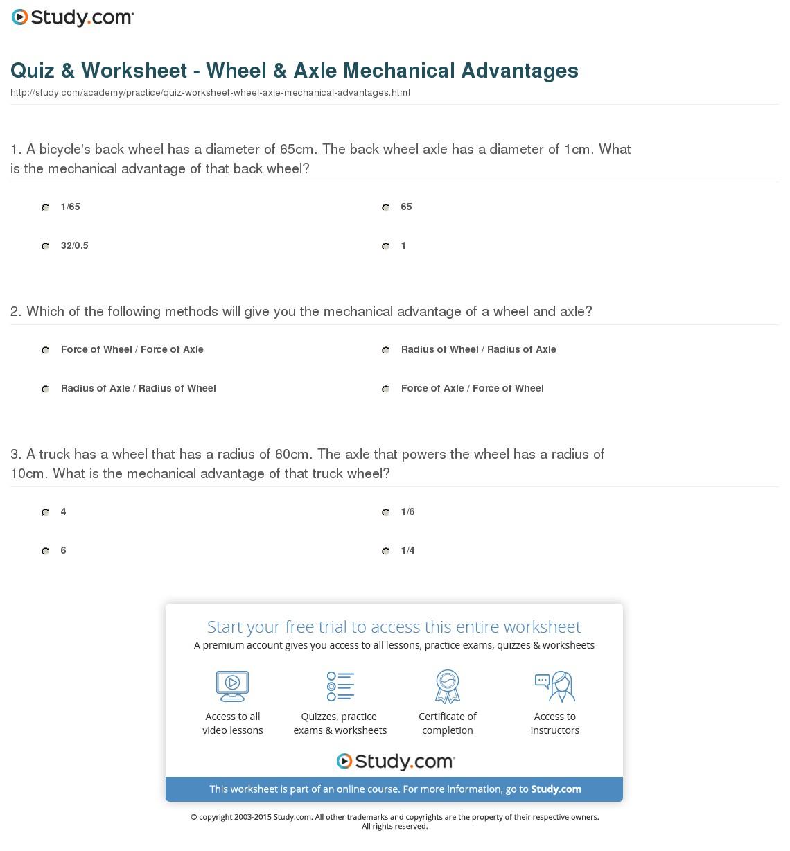 Mechanical Advantage Worksheets
