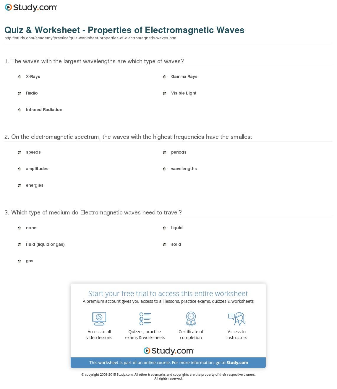 Electromagnetic Waves Worksheets