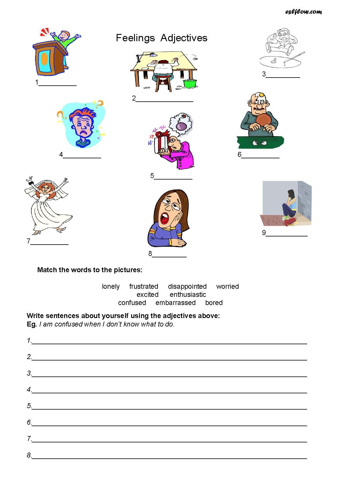 Adjective Worksheets Esl