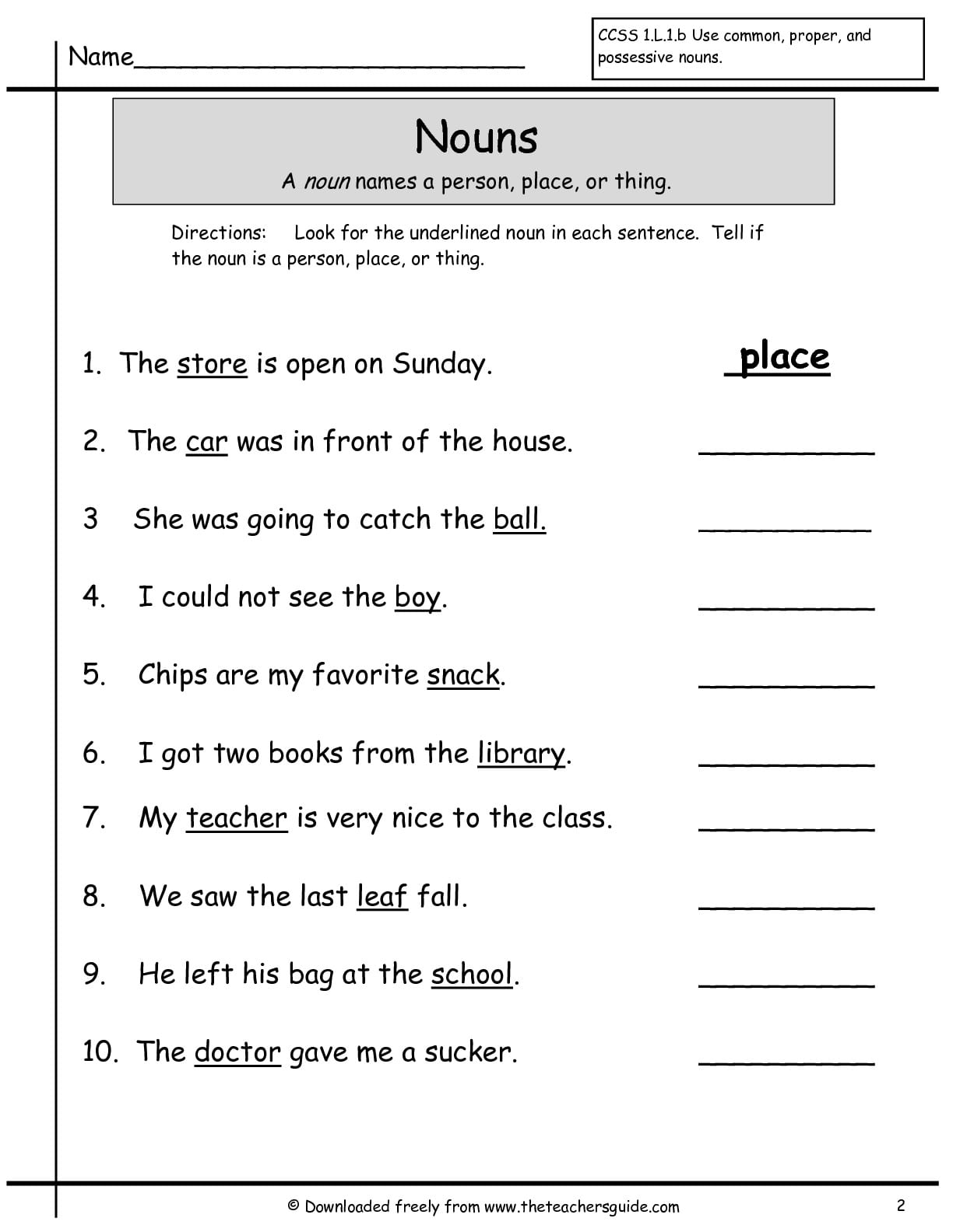 Nouns Worksheets For First Grade