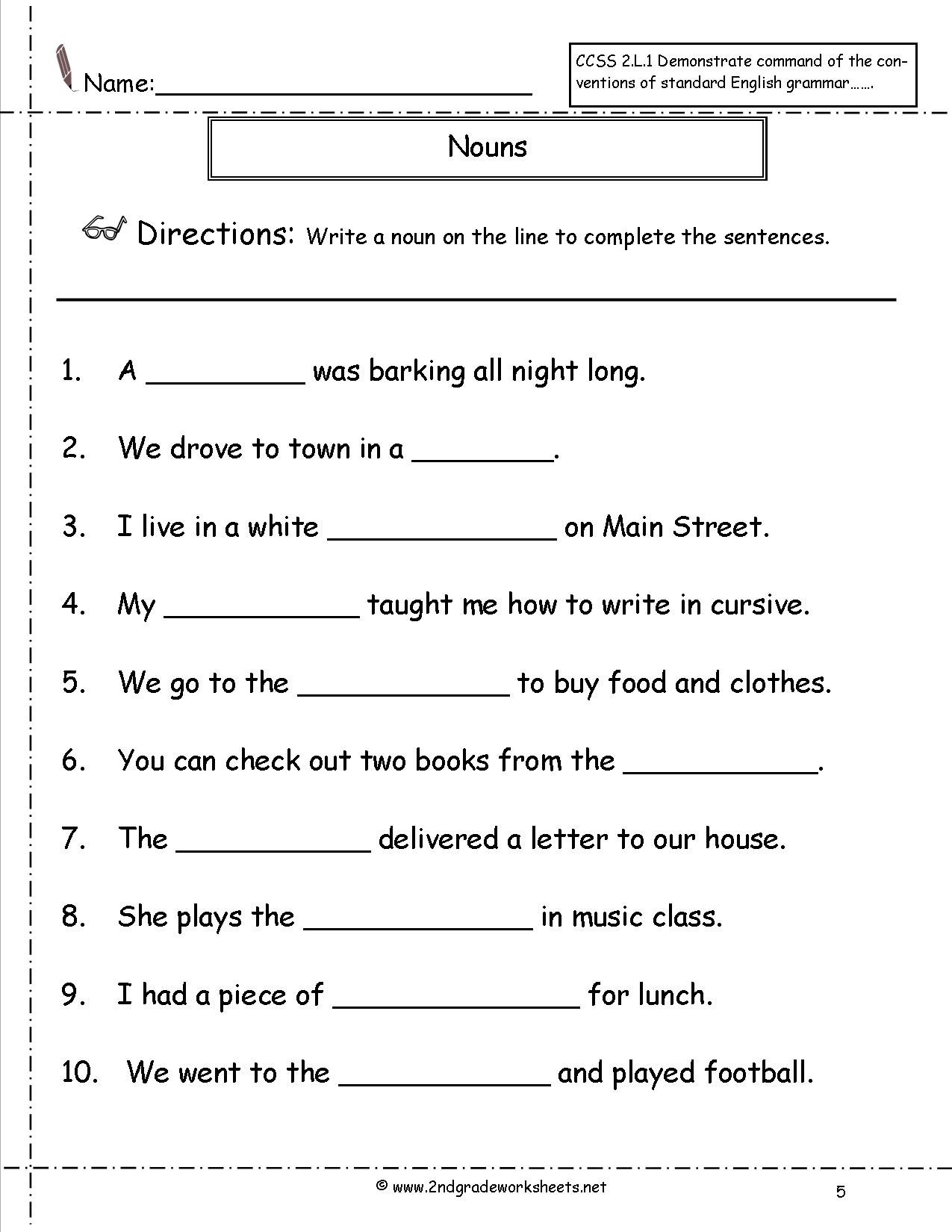 Noun Worksheets For Second Grade