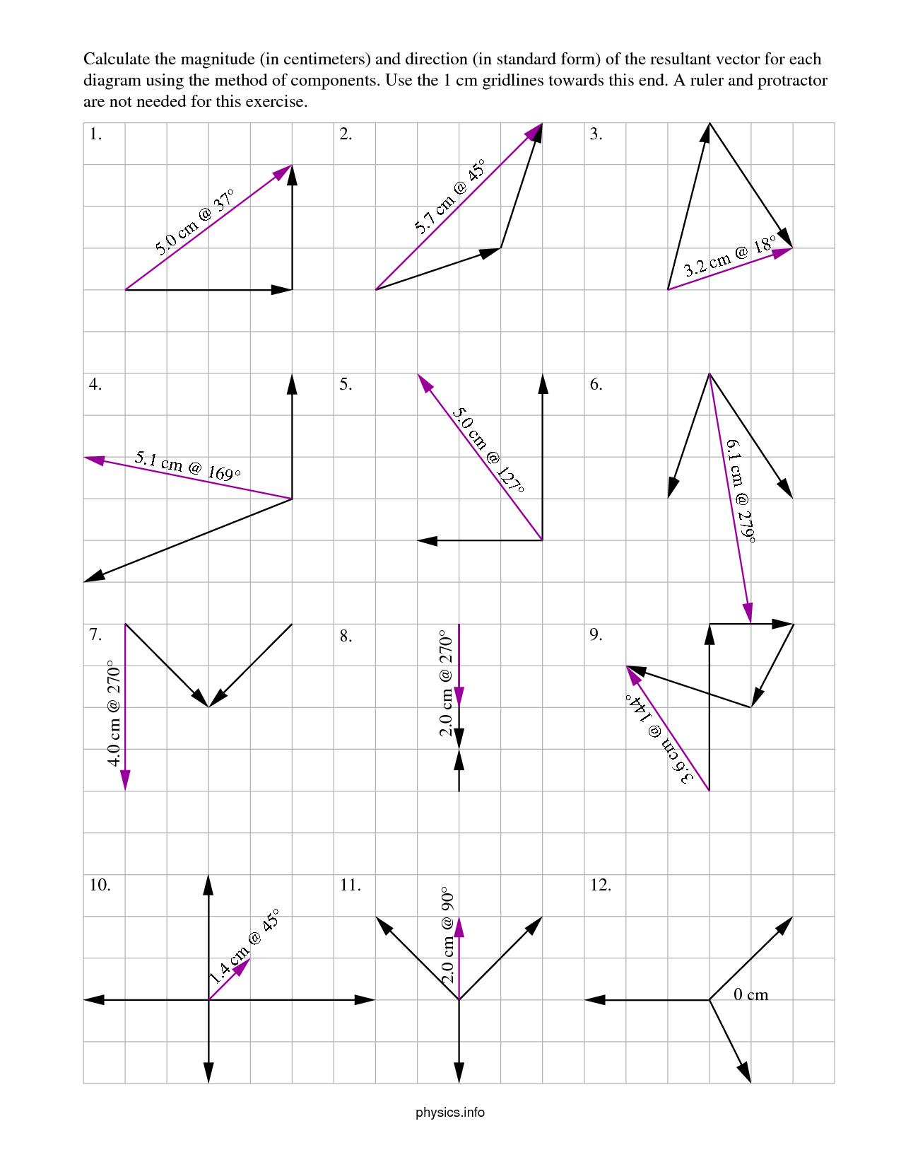 Adding Vectors Worksheets