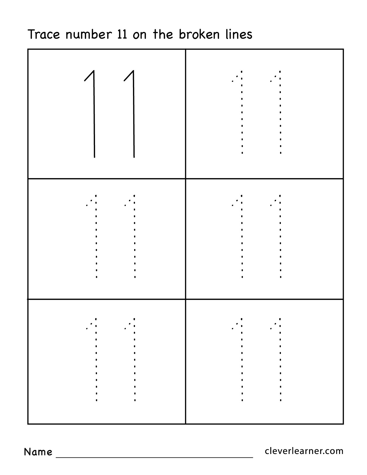 Number 11 Tracing Worksheets