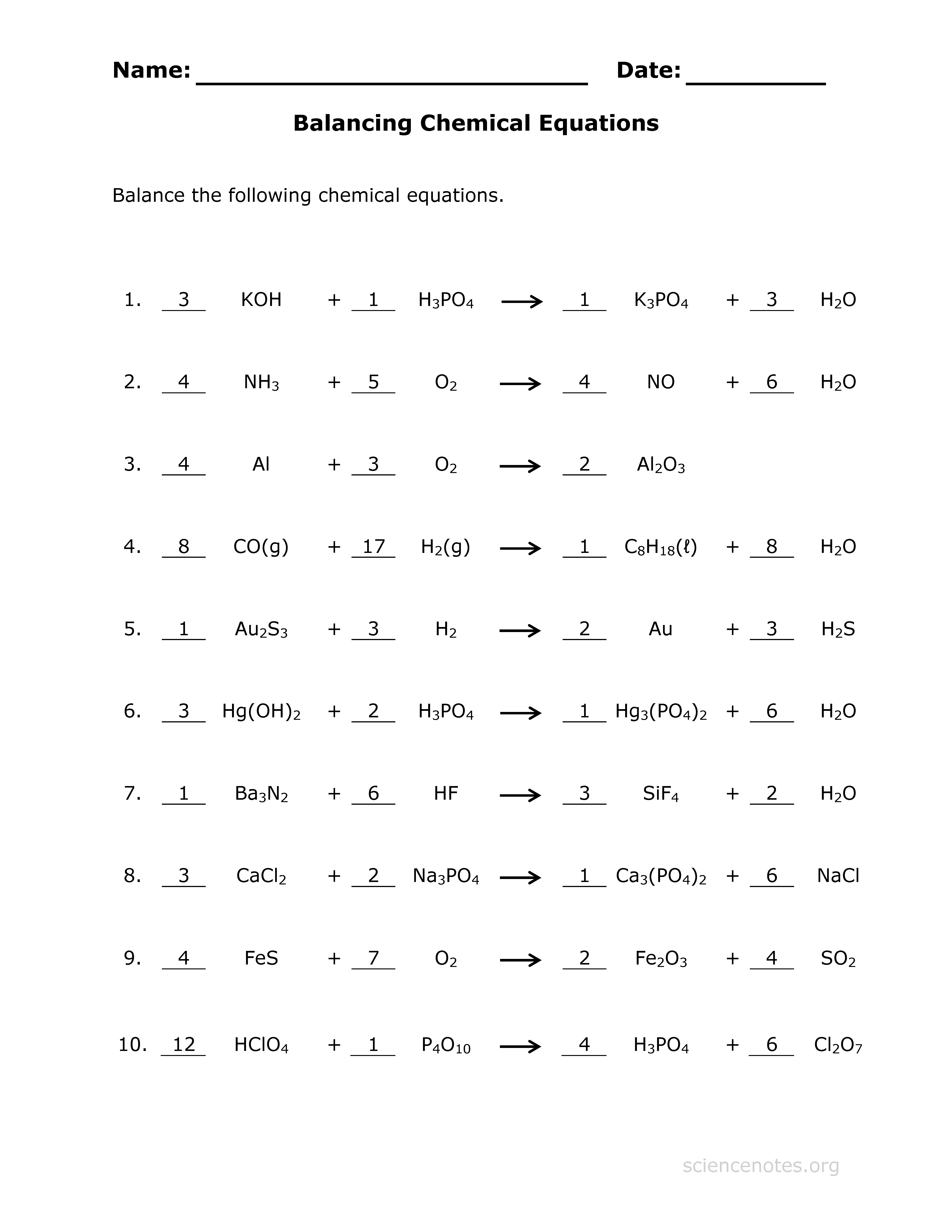 Balancing Equations 2 Worksheets