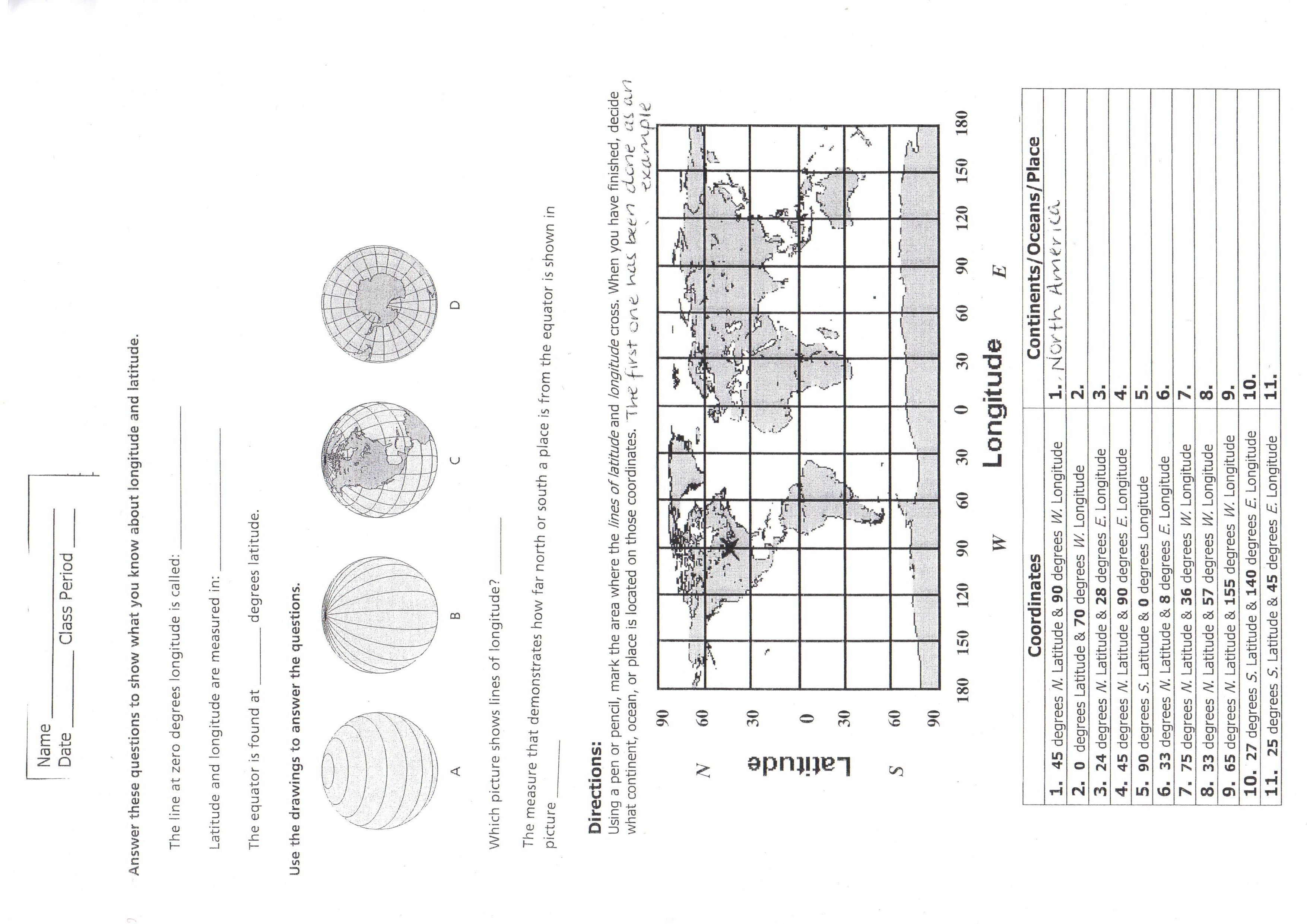Latitude Longitude And Time Zones Worksheets