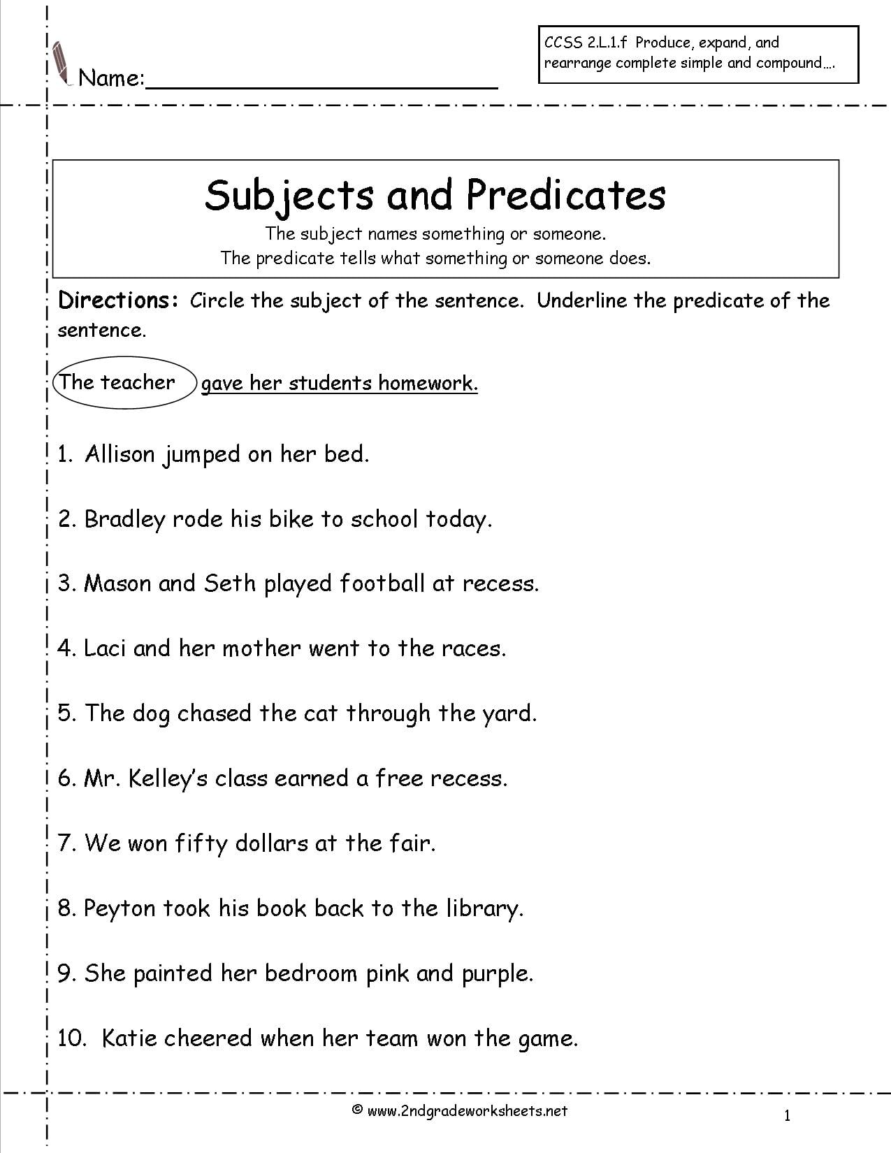 Identifying Subjects And Predicates Worksheets
