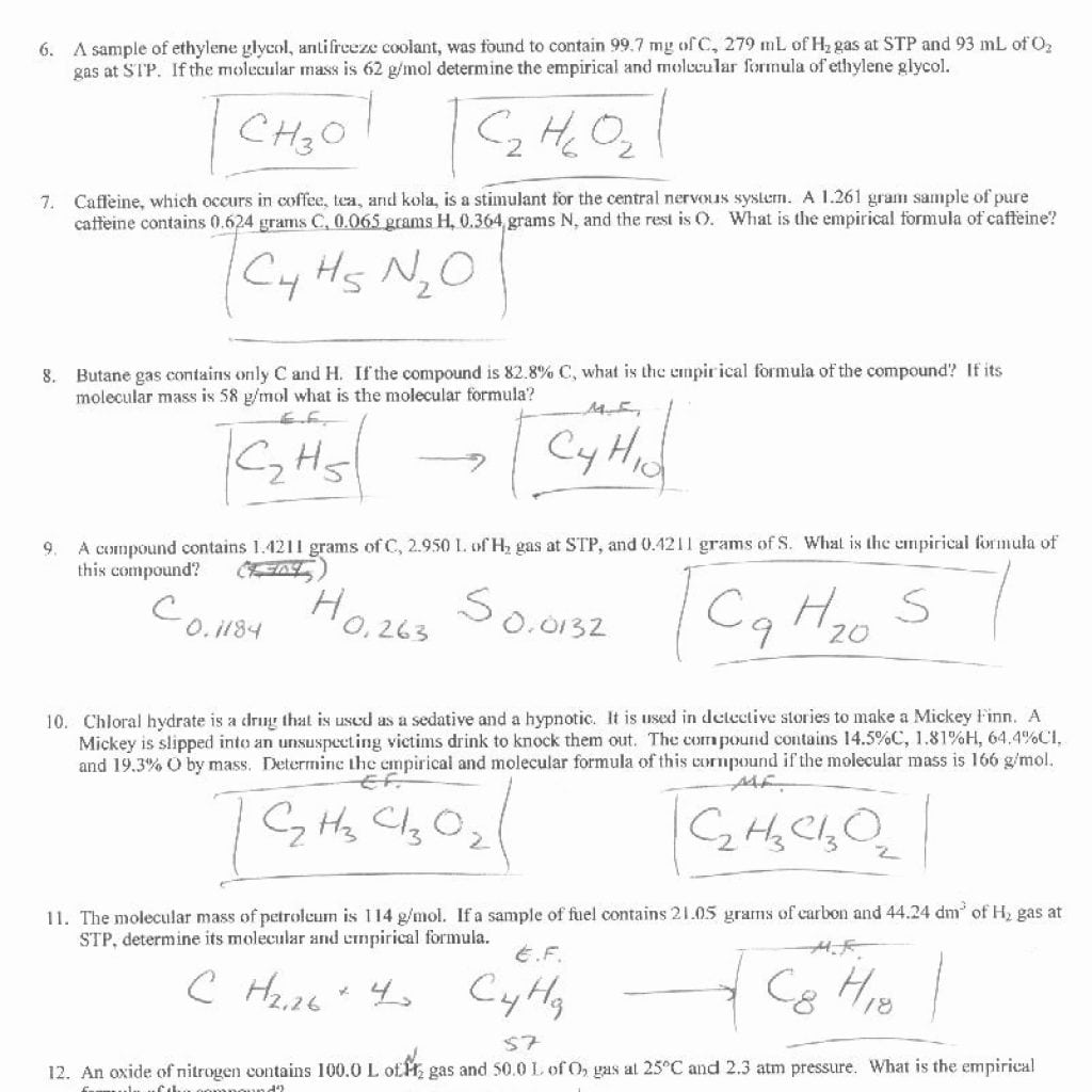 Molecular Formula Worksheets