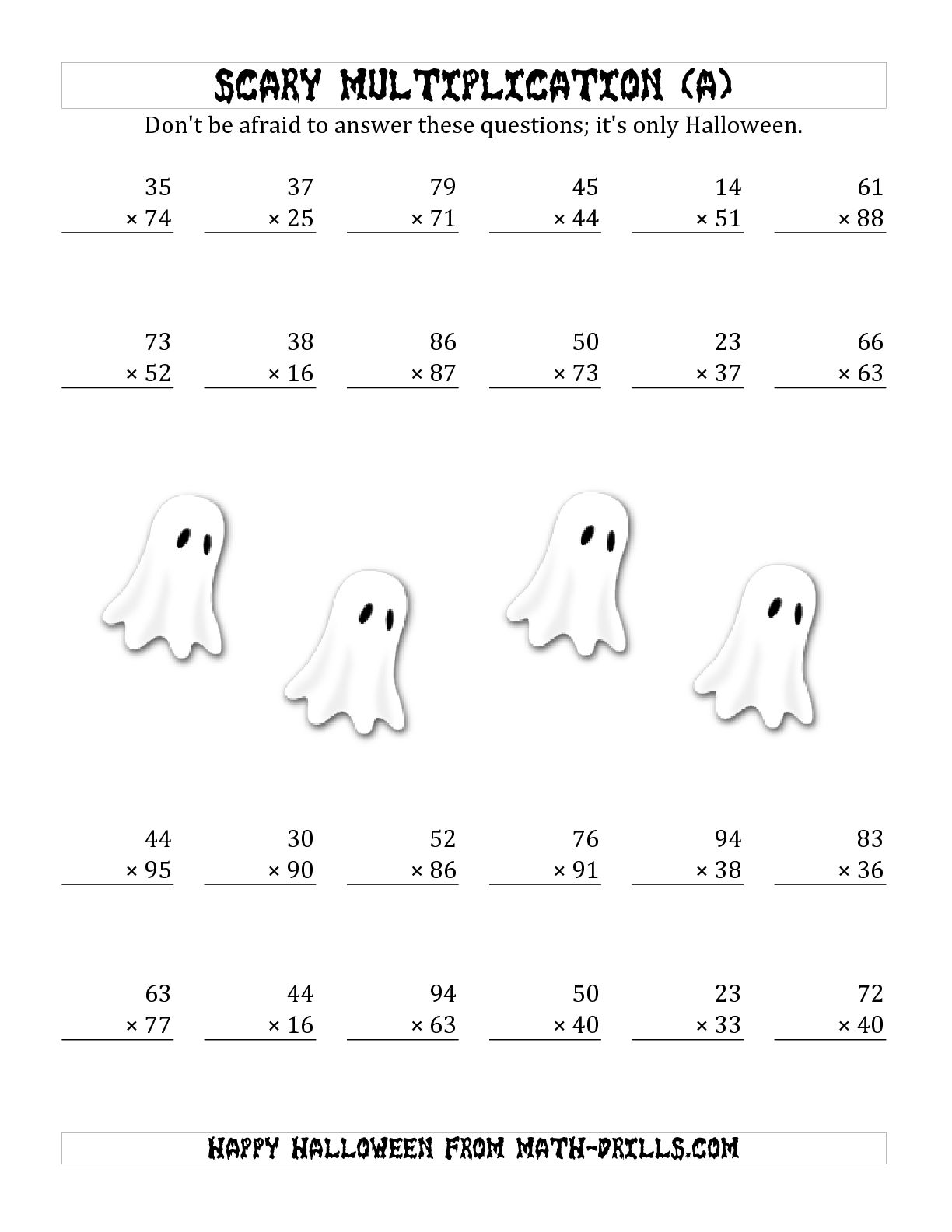 Halloween 2 Digit Multiplication Worksheets