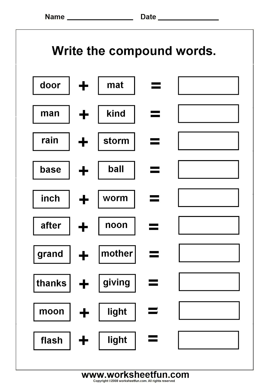 Printable Compound Word Worksheets
