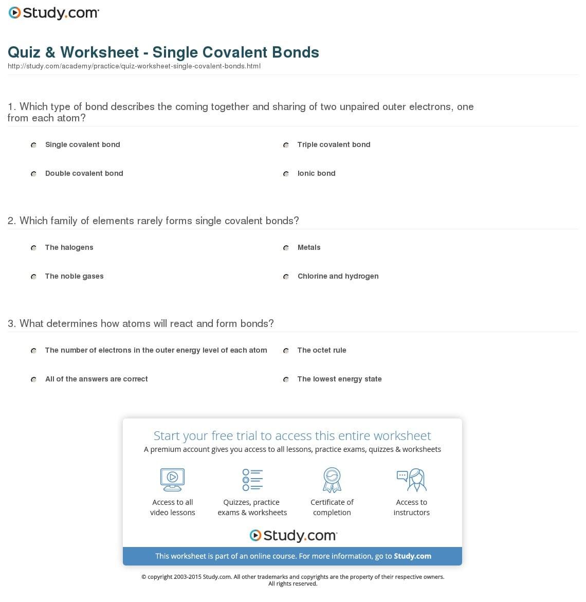 Covalent Bond Worksheets High School