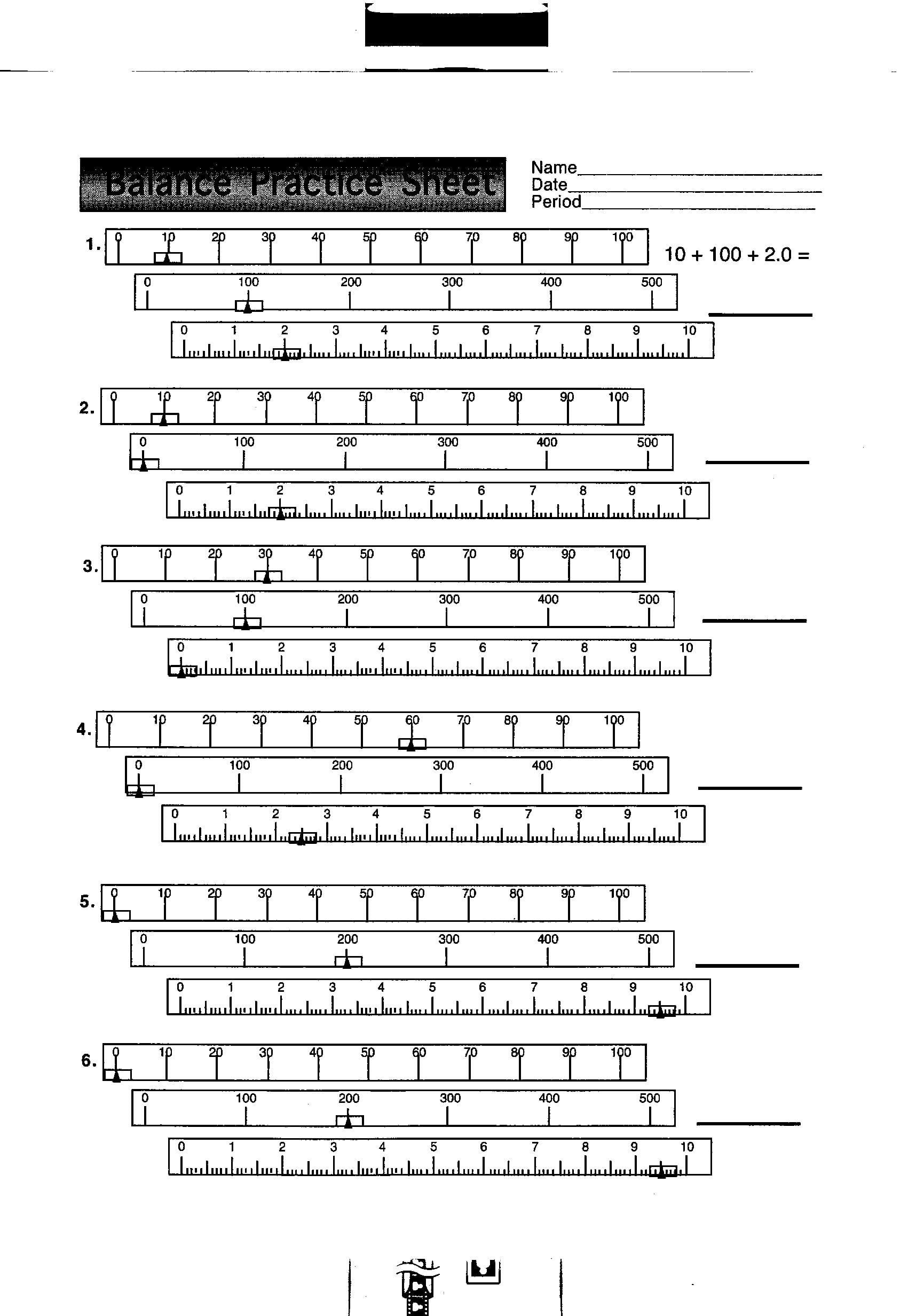 Reading A Triple Beam Balance Scale Worksheets