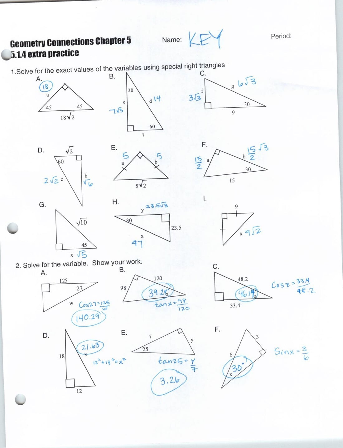 Special Right Triangles Worksheets With Answers