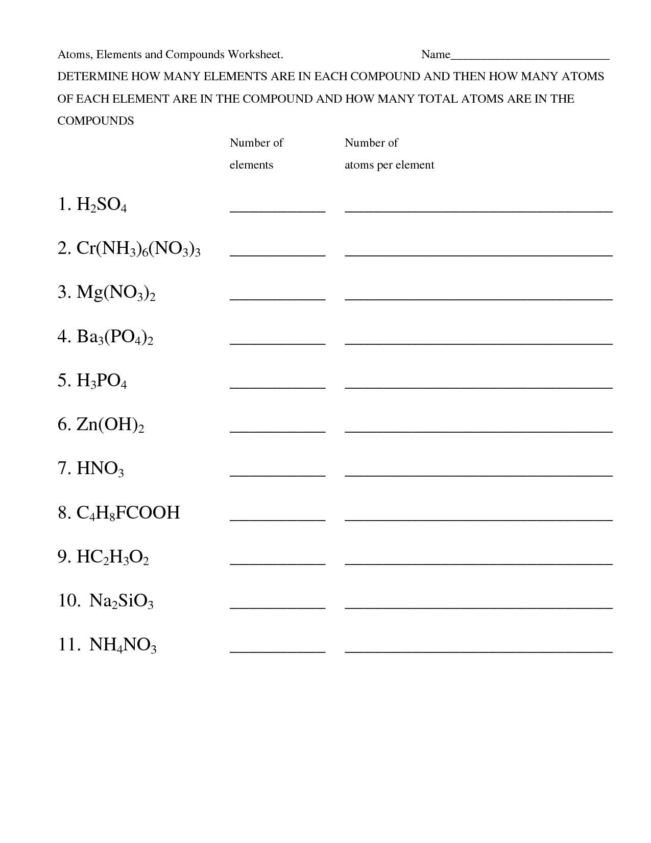 Elements Compounds Worksheets