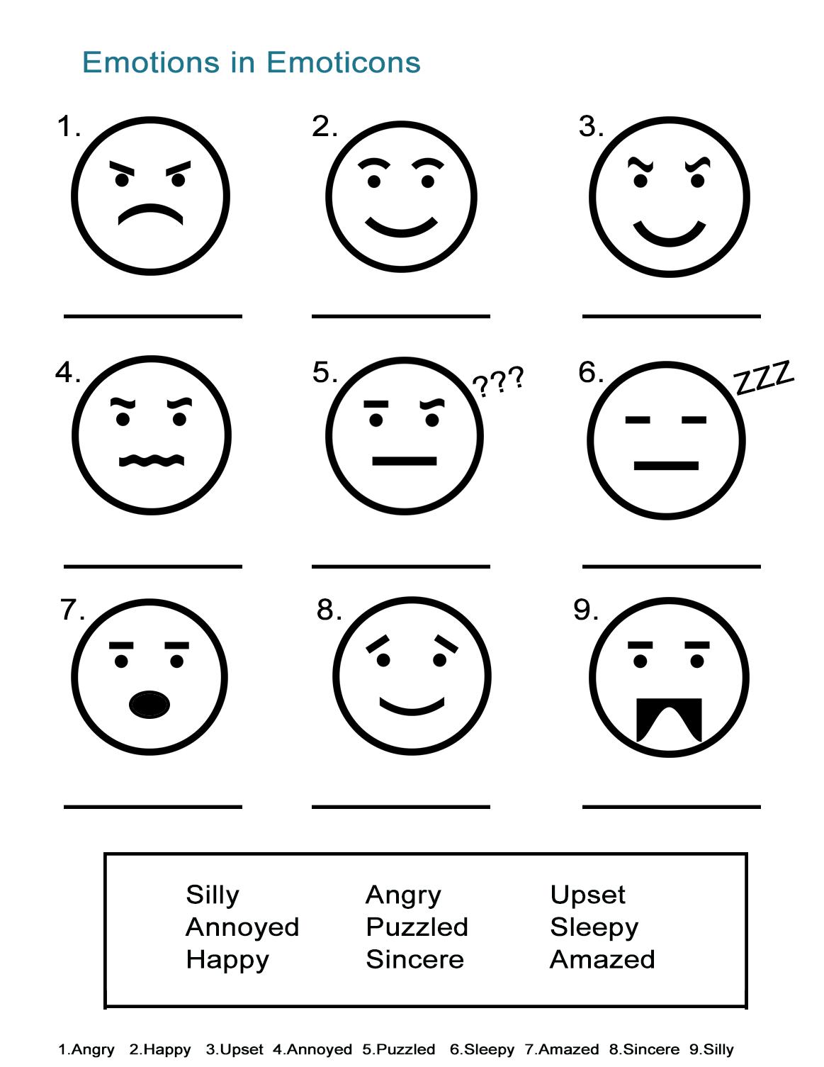 Worksheets On Emotions