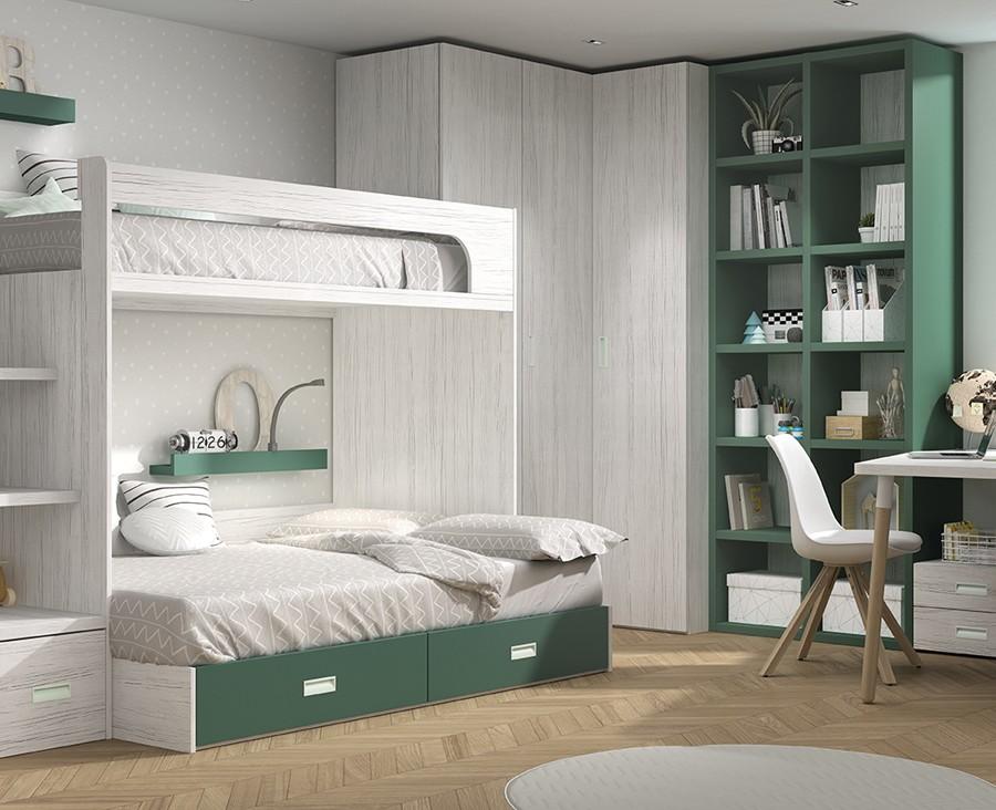 chambre avec lit superpose avec 3 tiroirs bureau avec 4 tiroirs armoire d angle et meuble a etageres