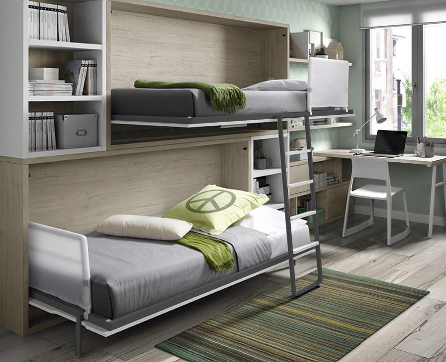 jugendzimmer bestehend aus etagenklappbett schreibtisch und regalen