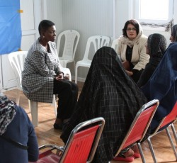 10 May 2012, Northern Afghanistan: ERC Valerie Amos meets the women of Buzareg village. Credit: UNAMA