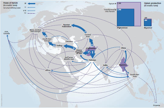 Global heroin flows