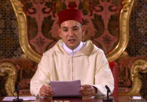 King Mohammed VI of Morocco delivers his