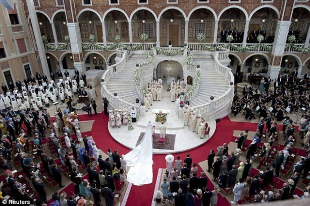 Religious wedding of Prince Albert and Princess Charlene in the palace courtyard, July 2011. source: The Daily Mail