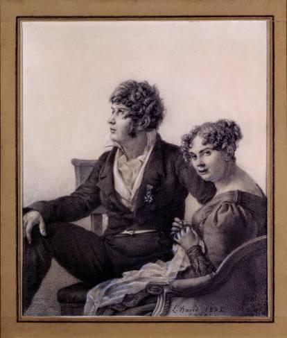 """Jacques-Louis David, """"Ritratto di François-Eugène David e di sua moglie Anne-Thérèse"""", Matita nera, rialzi di bianco su carta crema Firmato, datato e localizzato, a matita nera, in basso a destra: L. David 1825, 24,8 x 20,8 cm."""
