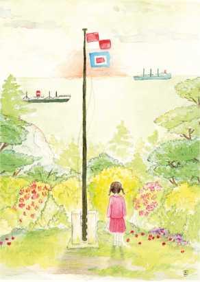 """Carte postale éditée par Un Ours dans l'Atelier. Reprographie d'une aquarelle représentant une scène du film d'animation japonaise des studios Ghibli """"La Colline aux Coquelicots"""". Scène représentant une enfant en robe face à la mer."""
