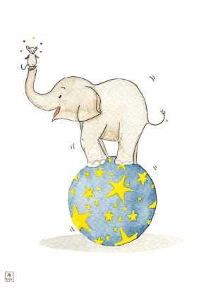 Carte postale éditée par Un Ours dans l'Atelier. Reprographie d'une aquarelle pour enfant représentant un éléphant de cirque et une souris jonglant sur une boule étoilée.