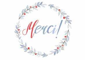 Carte postale éditée par Un Ours dans l'Atelier. Reprographie d'une aquarelle pour vos mots de remerciements illustrés d'une couronne de fleurs bleu.