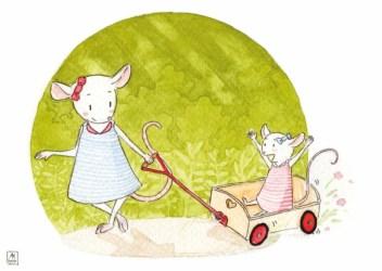Deux souris en chariot