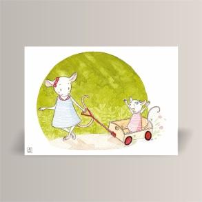 aquarelle de la boutique un ours dans l'atelier représentant deux petites souris en robe jouant avec un chariot