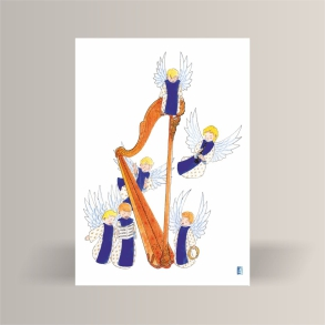 aquarelle de la boutique un ours dans l'atelier représentant des angelots musiciens autour d'une grande harpe