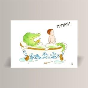 aquarelle de la boutique un ours dans l'atelier représentant un crocodile jouant avec un enfant dans une baignoire