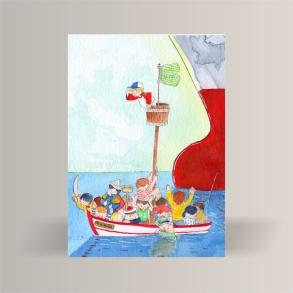 aquarelle de la boutique un ours dans l'atelier représentant une barque remplie d'enfants croisant un paquebot
