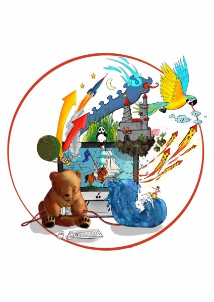 aquarelle de la boutique un ours dans l'atelier représentant un ourson branchant un ordinateur d'ou s'échappe plein d'imagination
