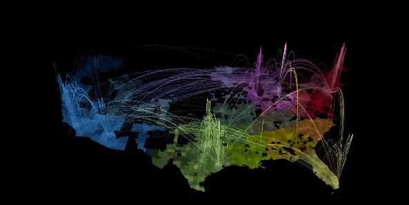 Mapa de las conexiones celulares en USA