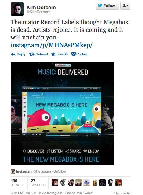 kim dotcom promotes megabox on twitter - unpocogeek.com