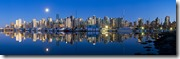 Moonrise over Vancouver from Stanley Park, British Columbia, Canada