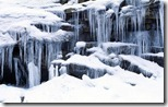 Icicles and snowy rocks in Sierra Nevada Mountains, California, U.S.
