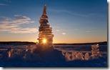 Ice sculpture at sunset, Lake Mjøsa, Norway