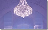Icehotel entrance with chandelier using fiber optics for light, Jukkasjärvi, Sweden