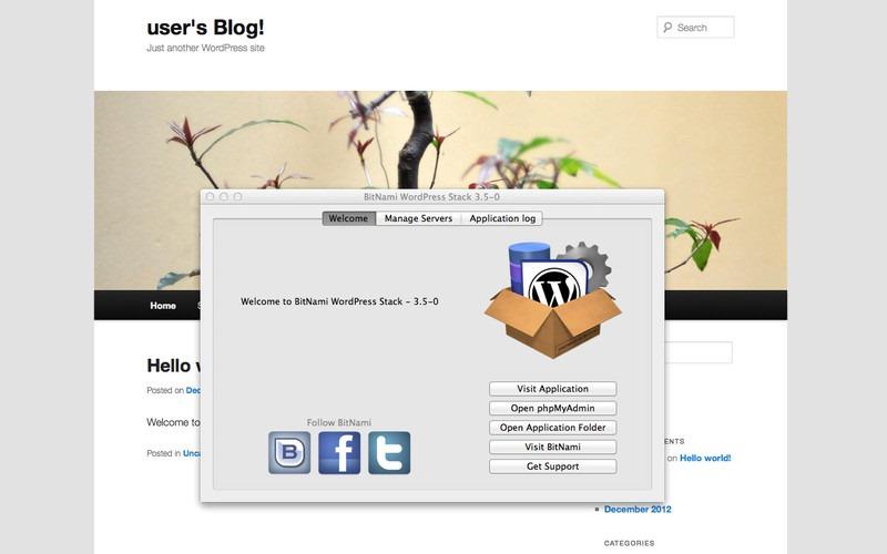 BitNami Stack for WordPress, ejecuta una instalación local en Mac
