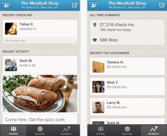 Foursquare lanza una aplicación para dueños de negocios