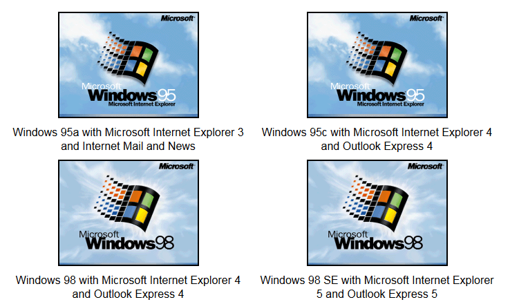 Un vistazo a viejas versiones de sistemas operativos y aplicaciones